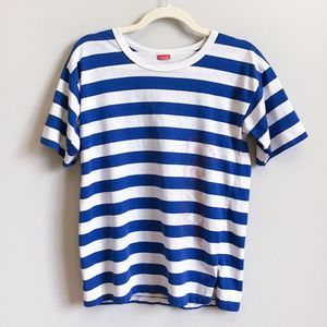 VINTAGE 80s Blue Striped Coca-Cola T-Shirt | OS